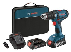 Bosch Power Tools Drill Kit DDB181-02 - 18V Compact Drill/Driver Kit with 2 Lithium Ion Batteries, 18V Charger, & Soft Carry Contractor Bag