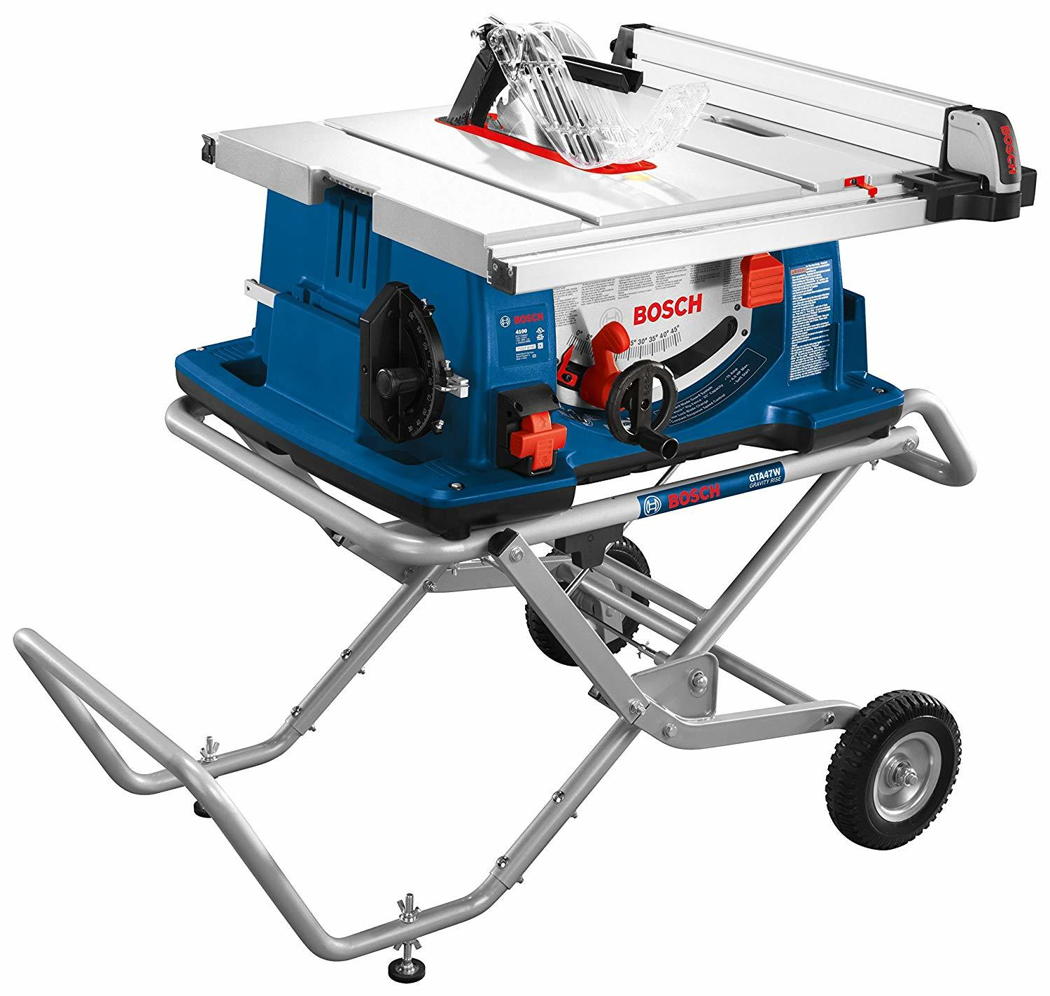 Bosch Power Tools Tablesaw 4100-10 - 15 Amp 10 In. Corded Portable Jobsite Table Saw with Gravity Rise Wheeled Stand